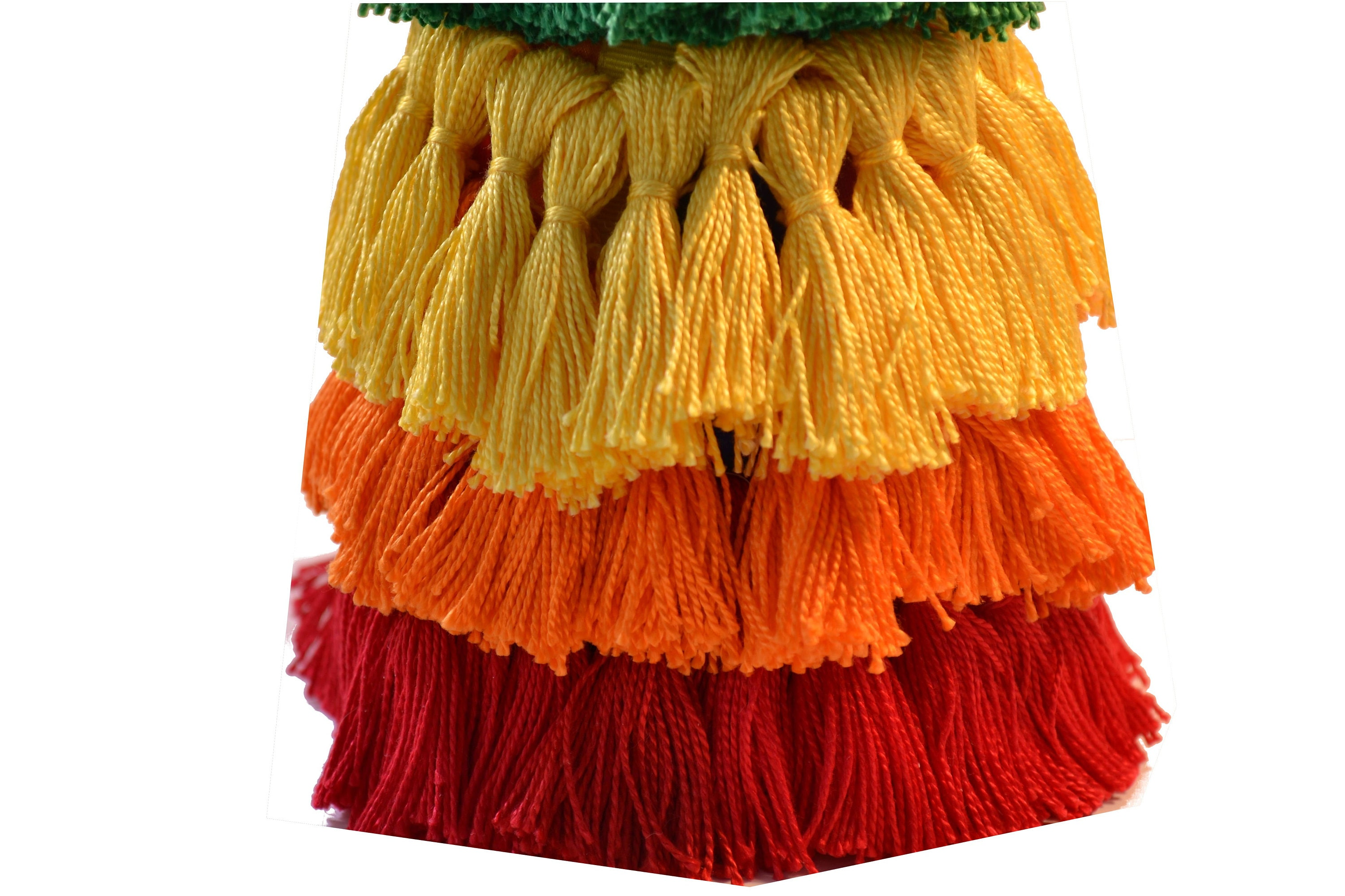 Rows of bright tassels, red, orange, yellow