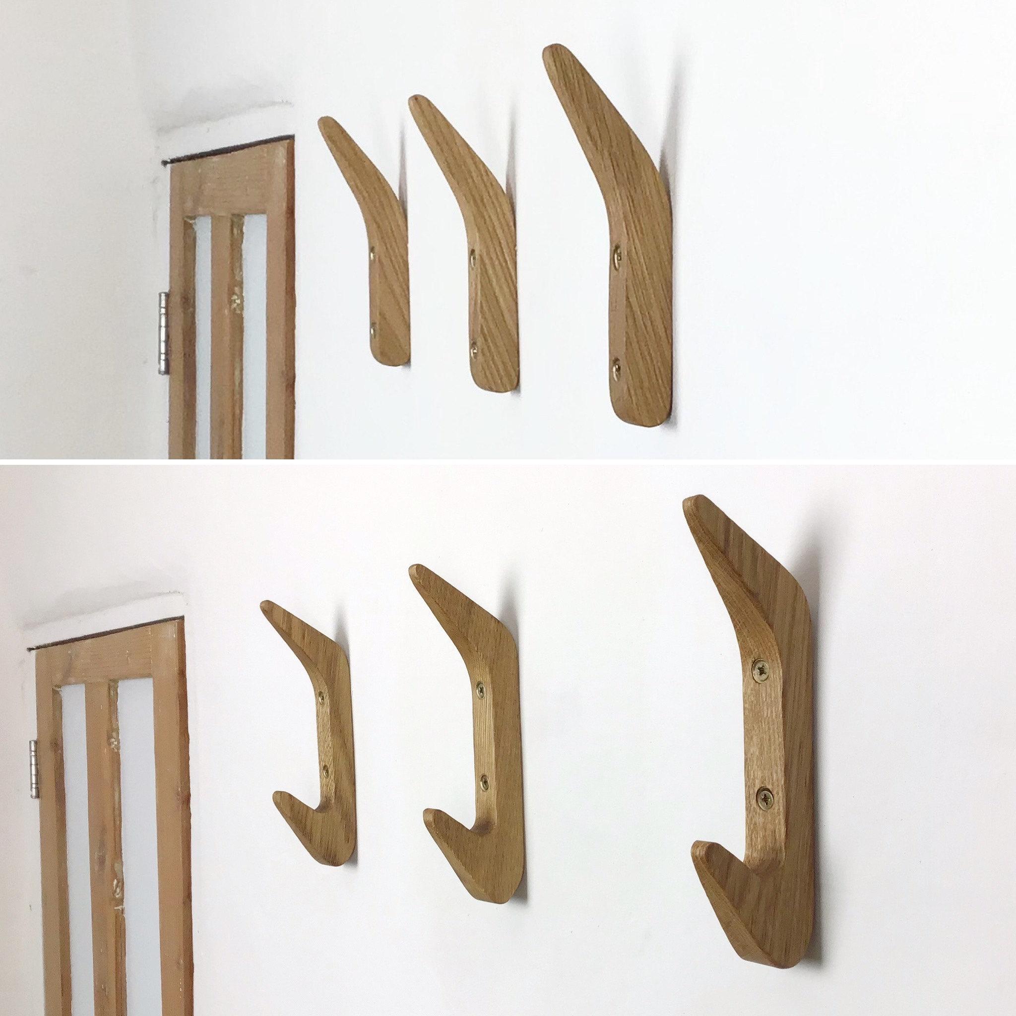 Gorlech coat hooks in light and dark Oak wood, handcrafted in Wales, UK