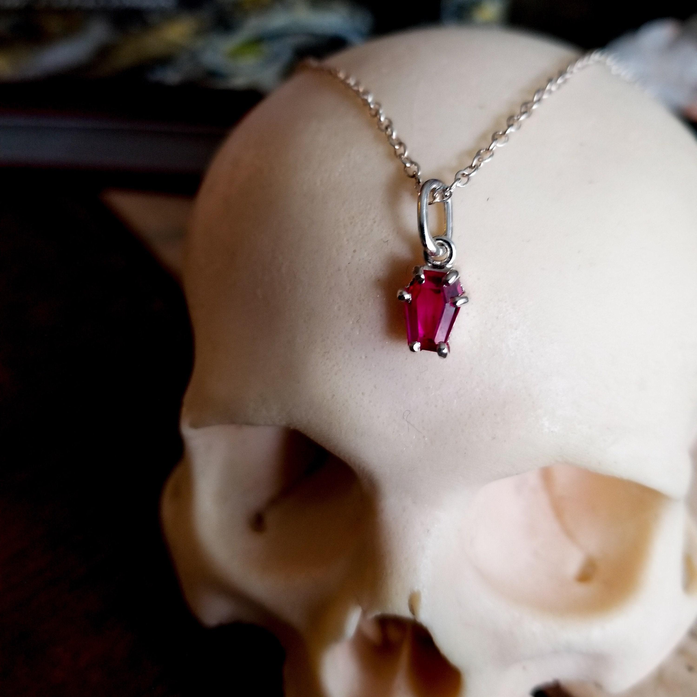 inchoo bijoux blood red coffin pendant