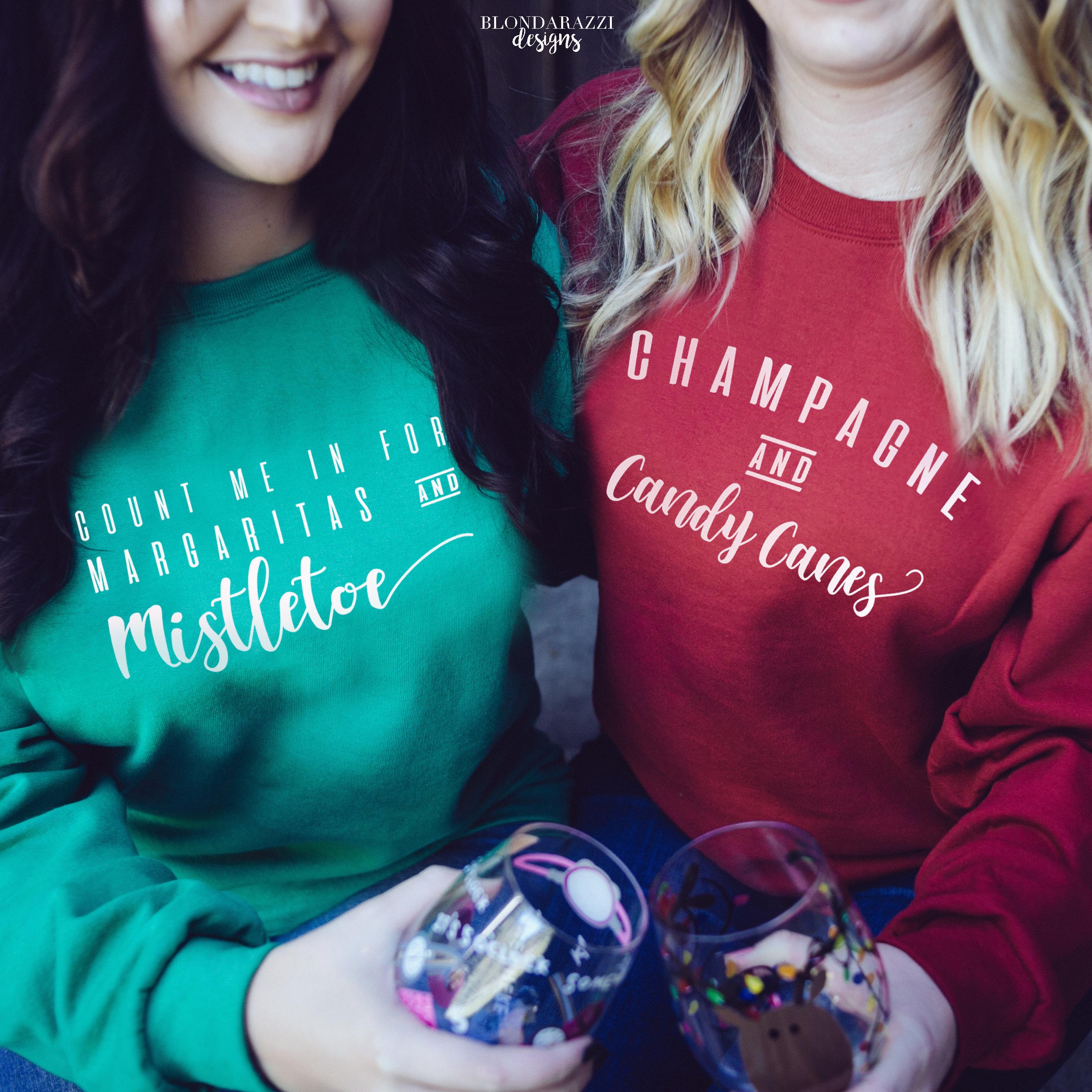 funny christmas sweatshirts champagne Candy canes margaritas mistletoe