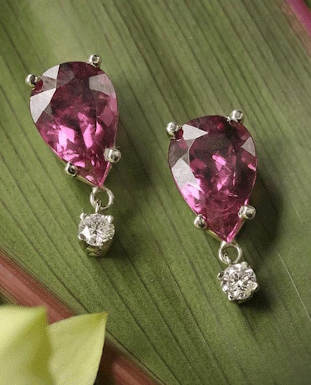 Raspberry Rubellite Tourmaline and Diamond Earrings