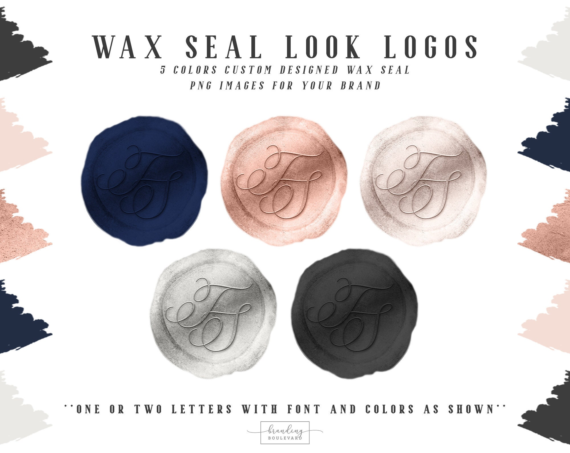 Wax Seal Look Logos Custom Made with Your Initials in 5 Colors - Navy Blue, Rose Gold, Silver Gray, Dark Gray, and Blush Pink