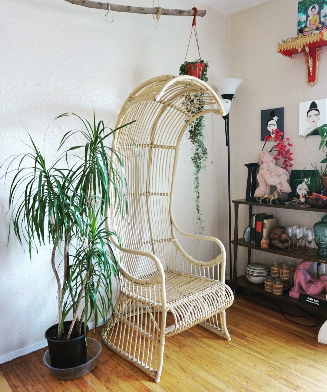 Arched Canopy Bamboo Throne Chair