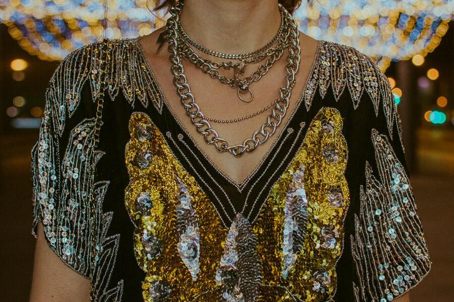 metallic silver gold black party shirt