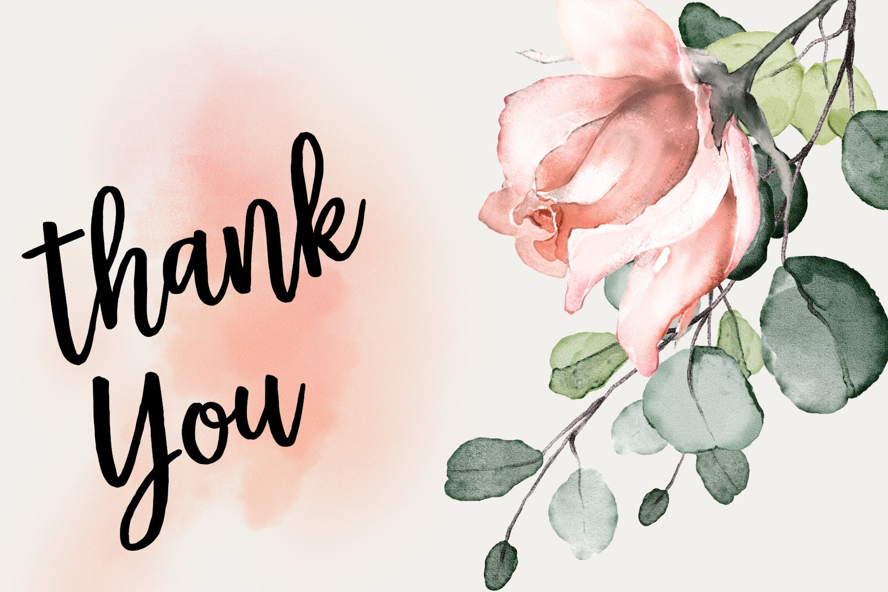 Blush Rose Thank You Card