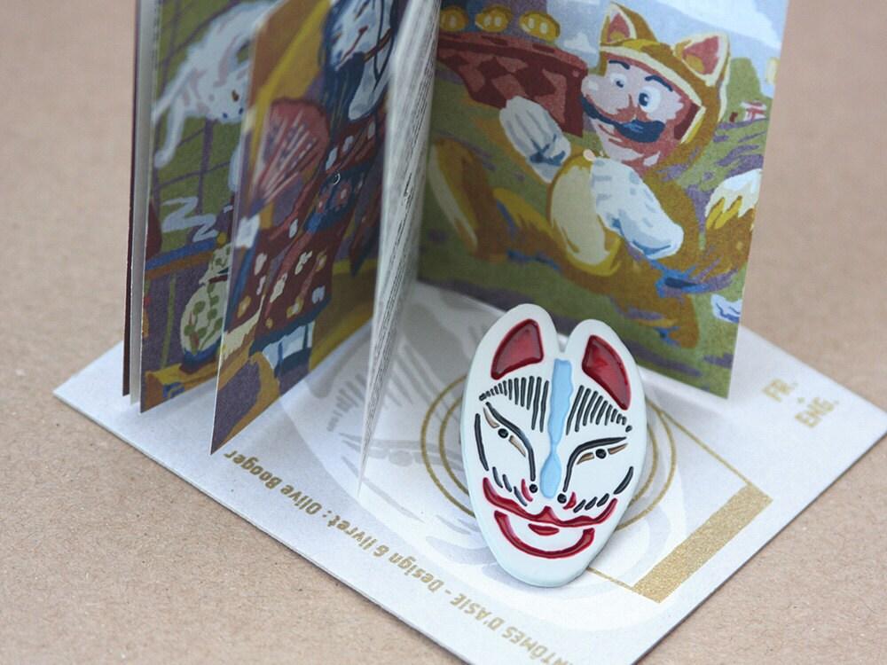 pins masque renard kitsune théâtre kabuki blanc rouge bleu