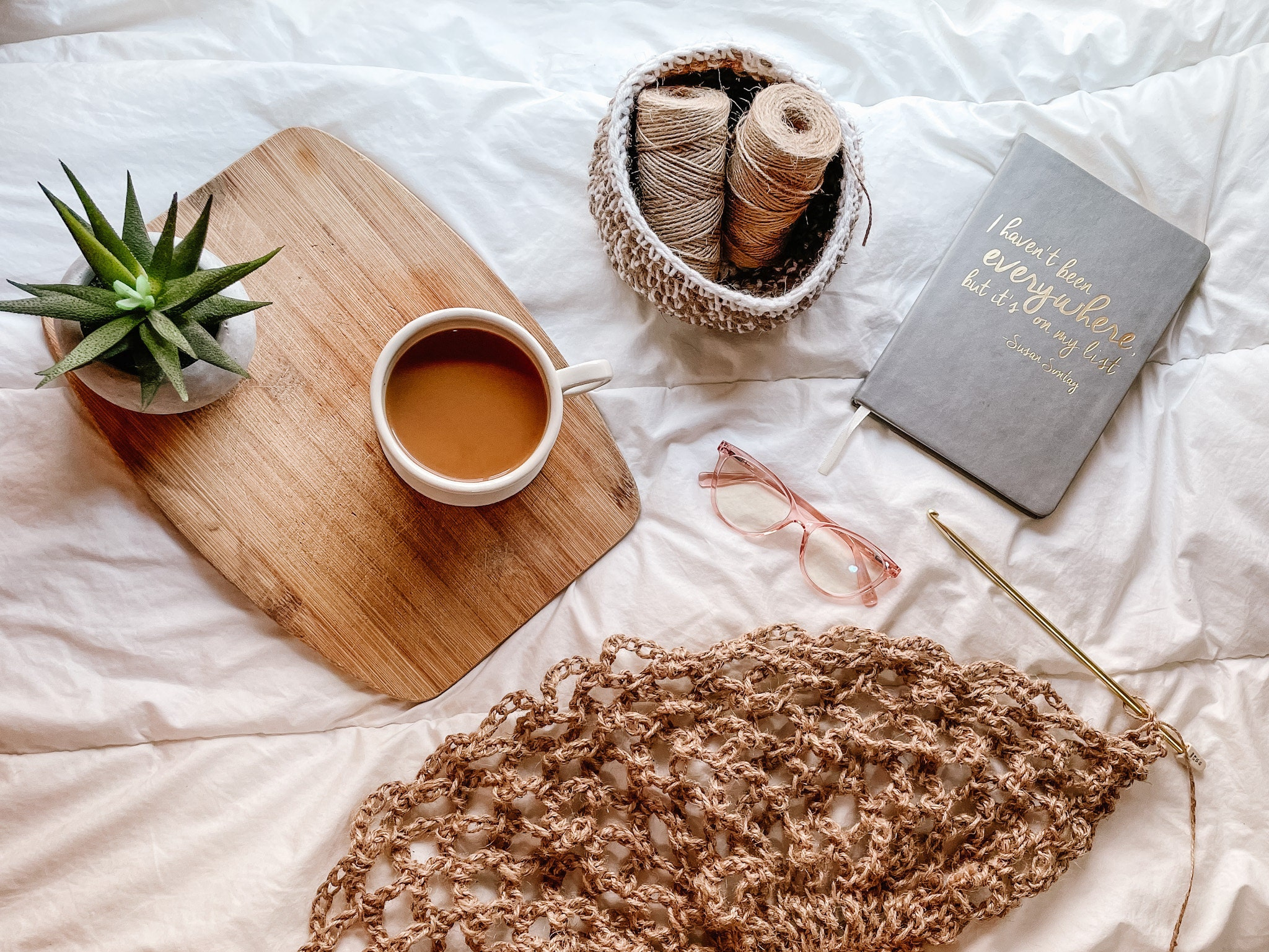 Planner, Crochet, and a cup of coffee