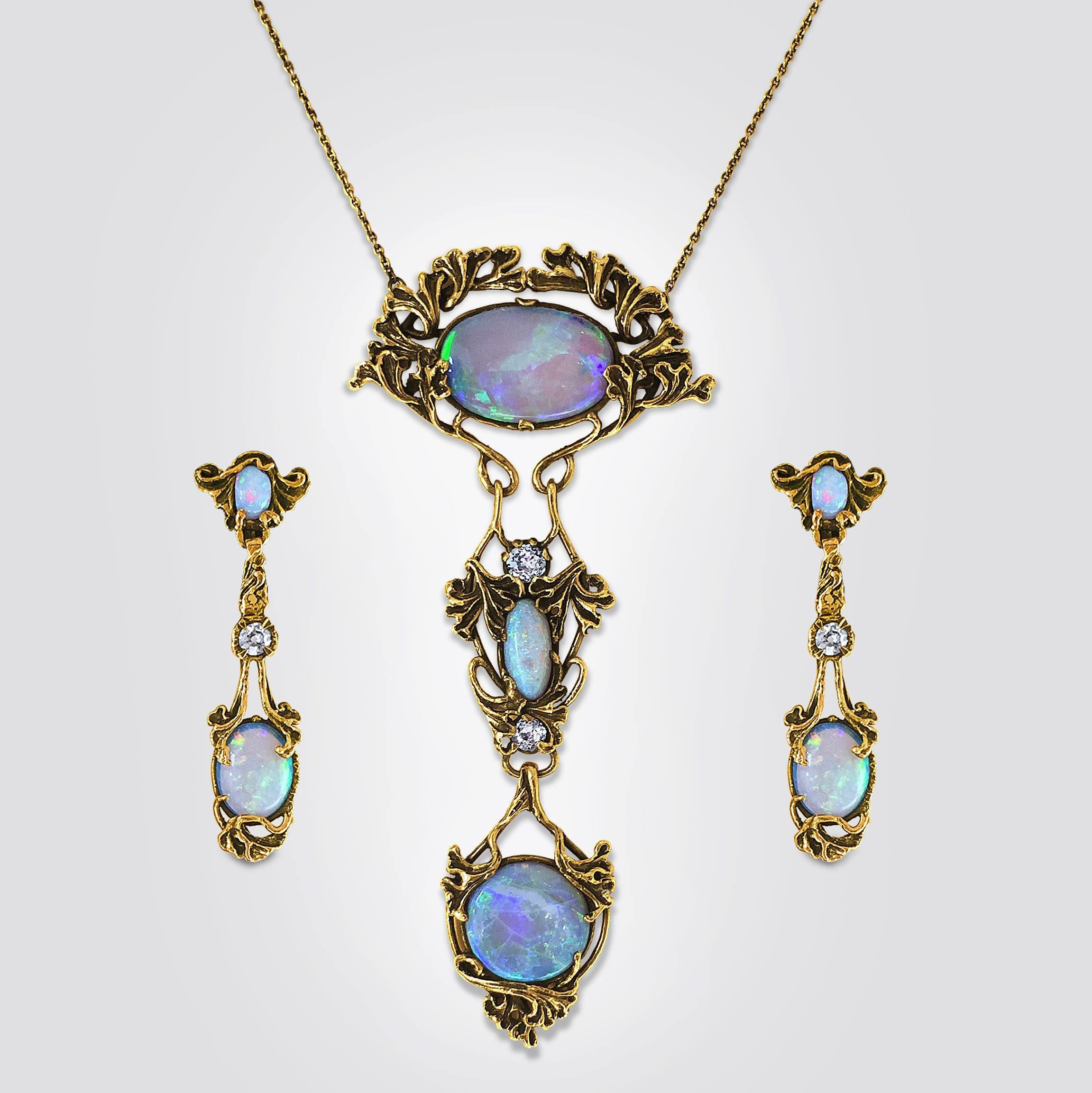 Antique-Art-Nouveau-Black-Opal-European-cut-Diamond-Necklace-pendant-Earrings-Walton&Co.-Los Angeles-circa1900