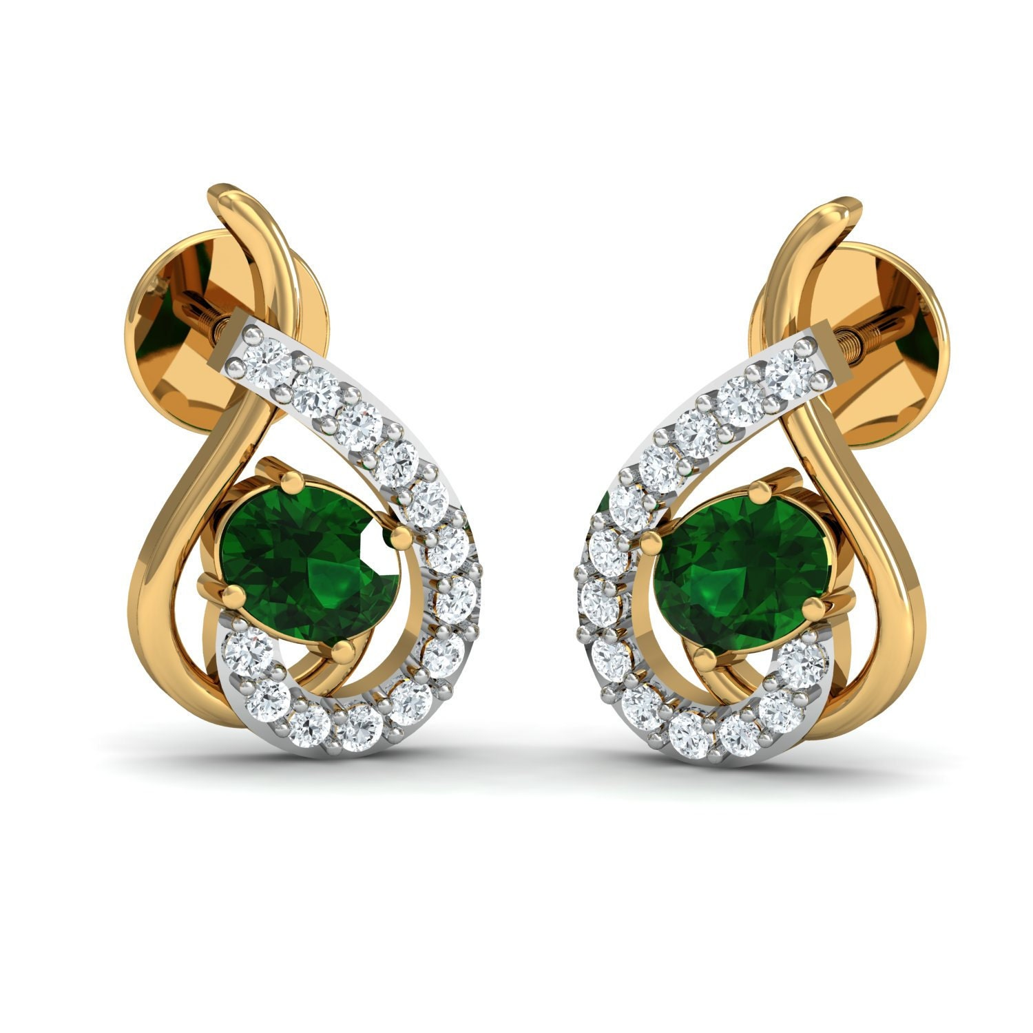 Unique emerald diamond earrings by Gem select crafts