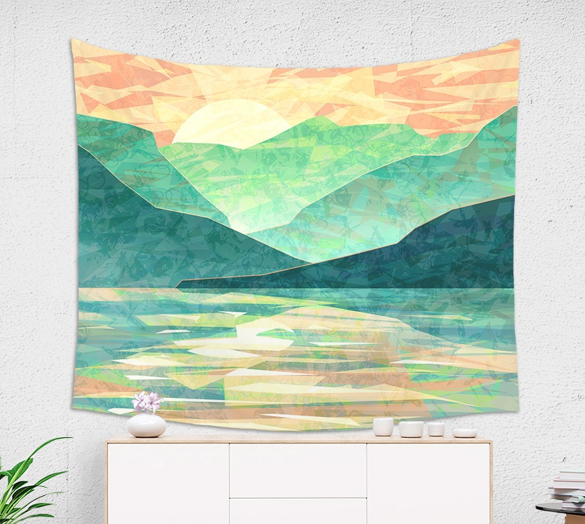 Japan Mountain tapestry in emerald green with sunset