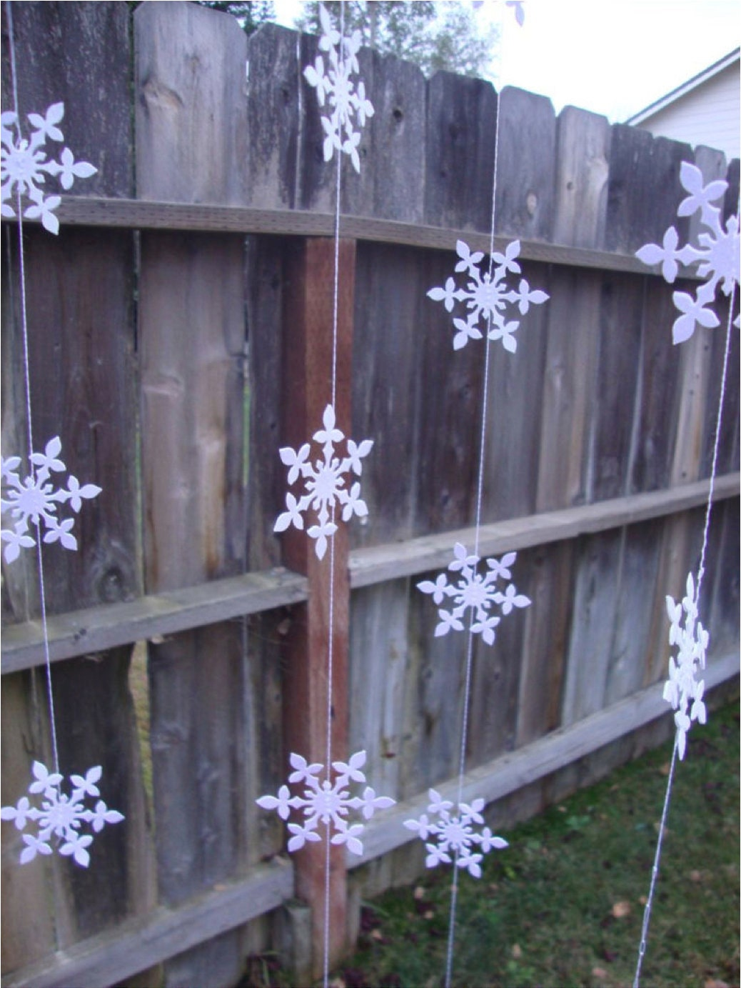 white glitter hanging snowflake garlands