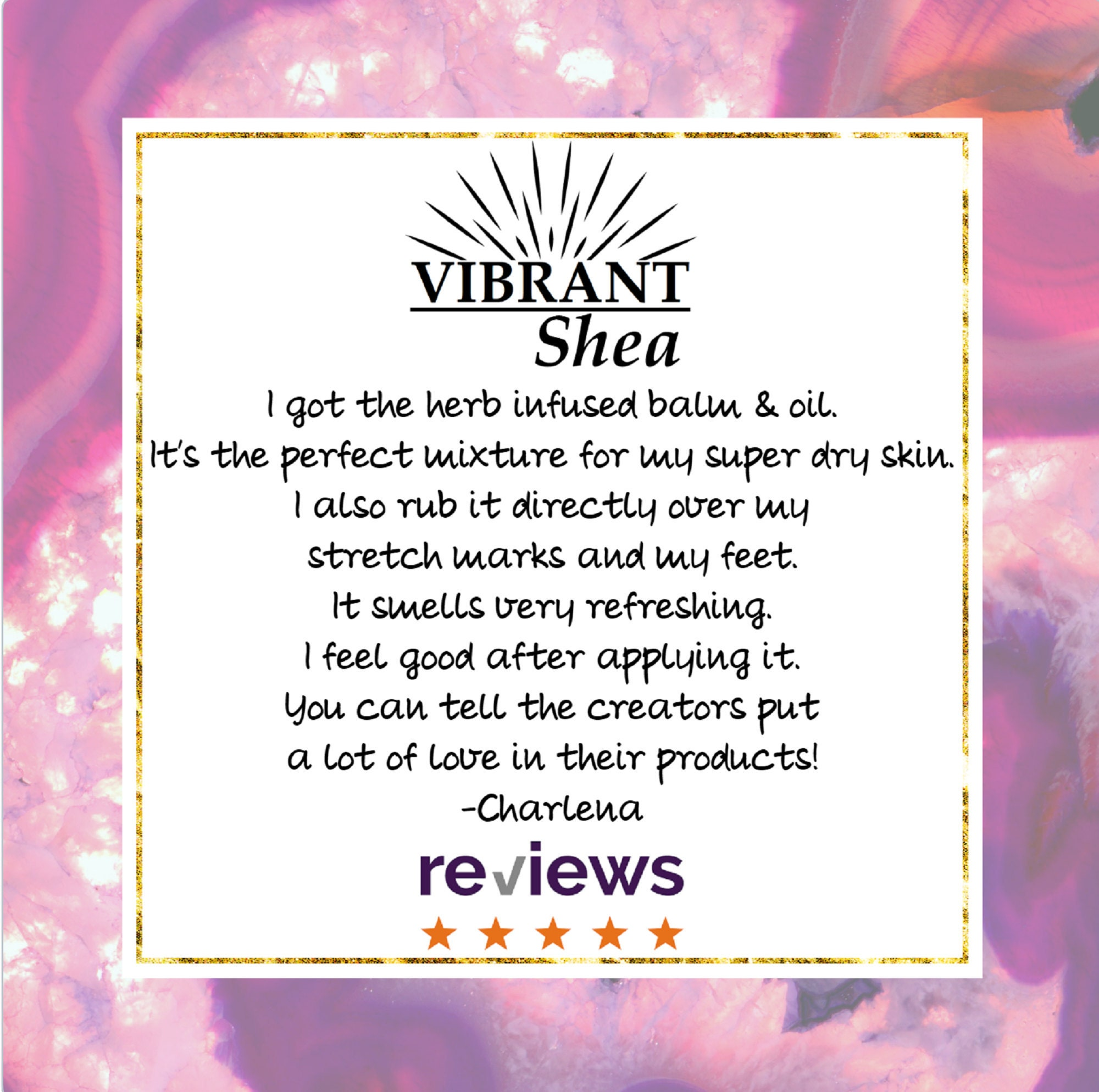 five star review herbal balm vibrant shea co