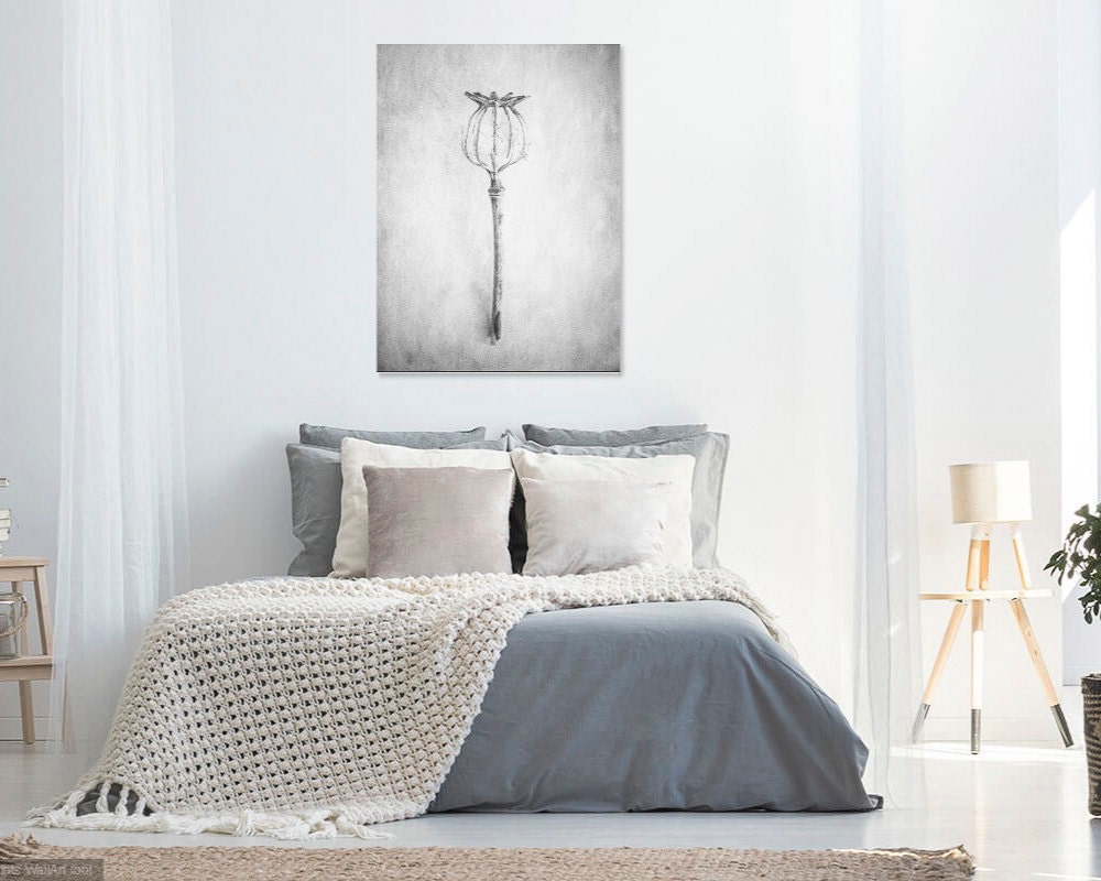 floral canvas wall art- black and white fine art photography of a poppy flower seed head- custom sizes- bedroom canvas wall art