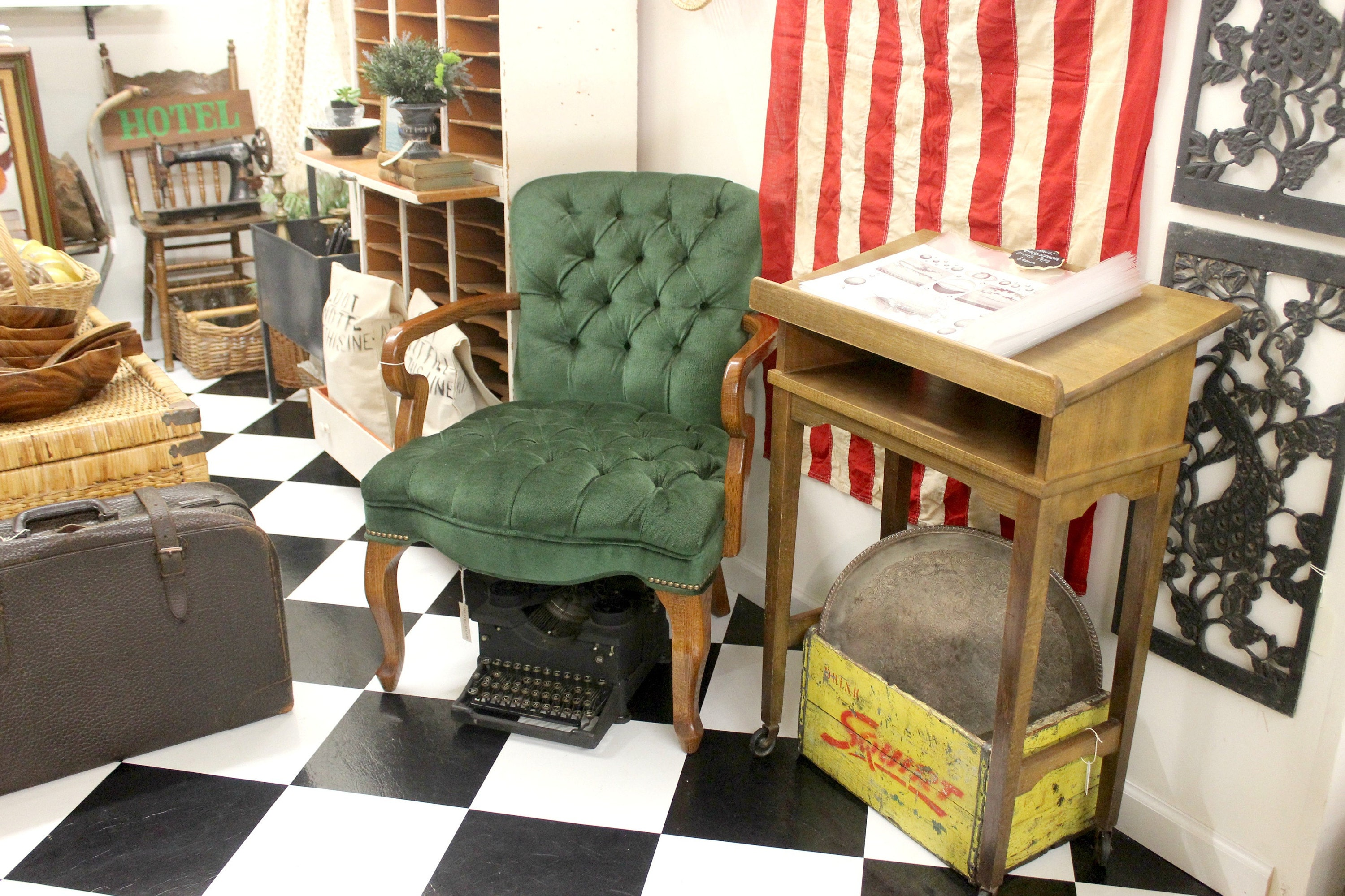 Mendez Manor vintage booth at Pomona Antique Mart