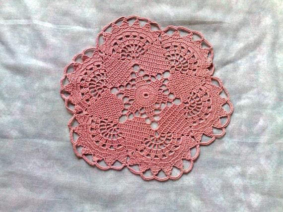 Rundes Zierdeckchen Aus Rosa Baumwolle Häkeln