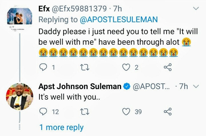 Apostle Suleman saves the life of someone on Twitter