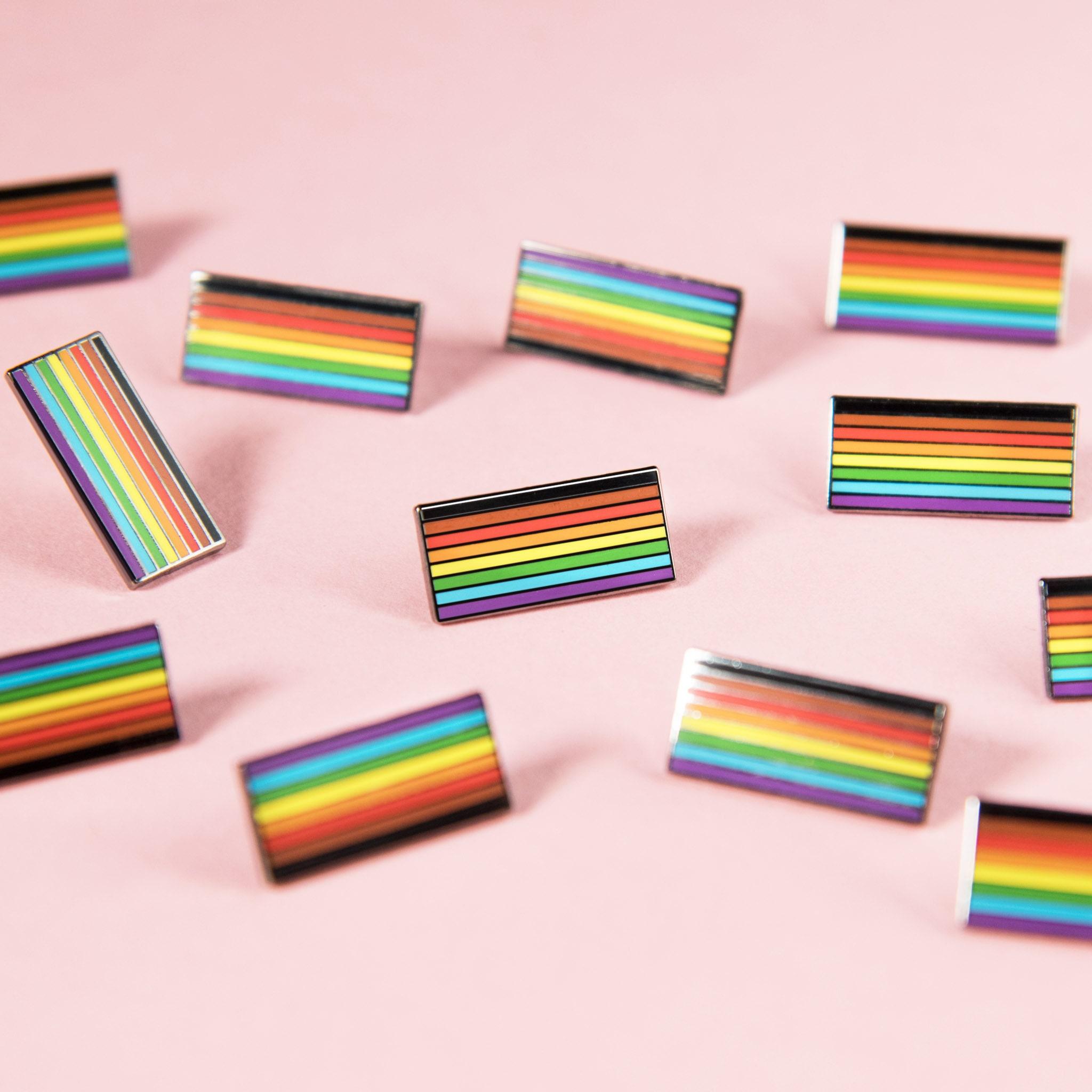 Inclusive Pride Flag Black Brown Stripe Pin Badge