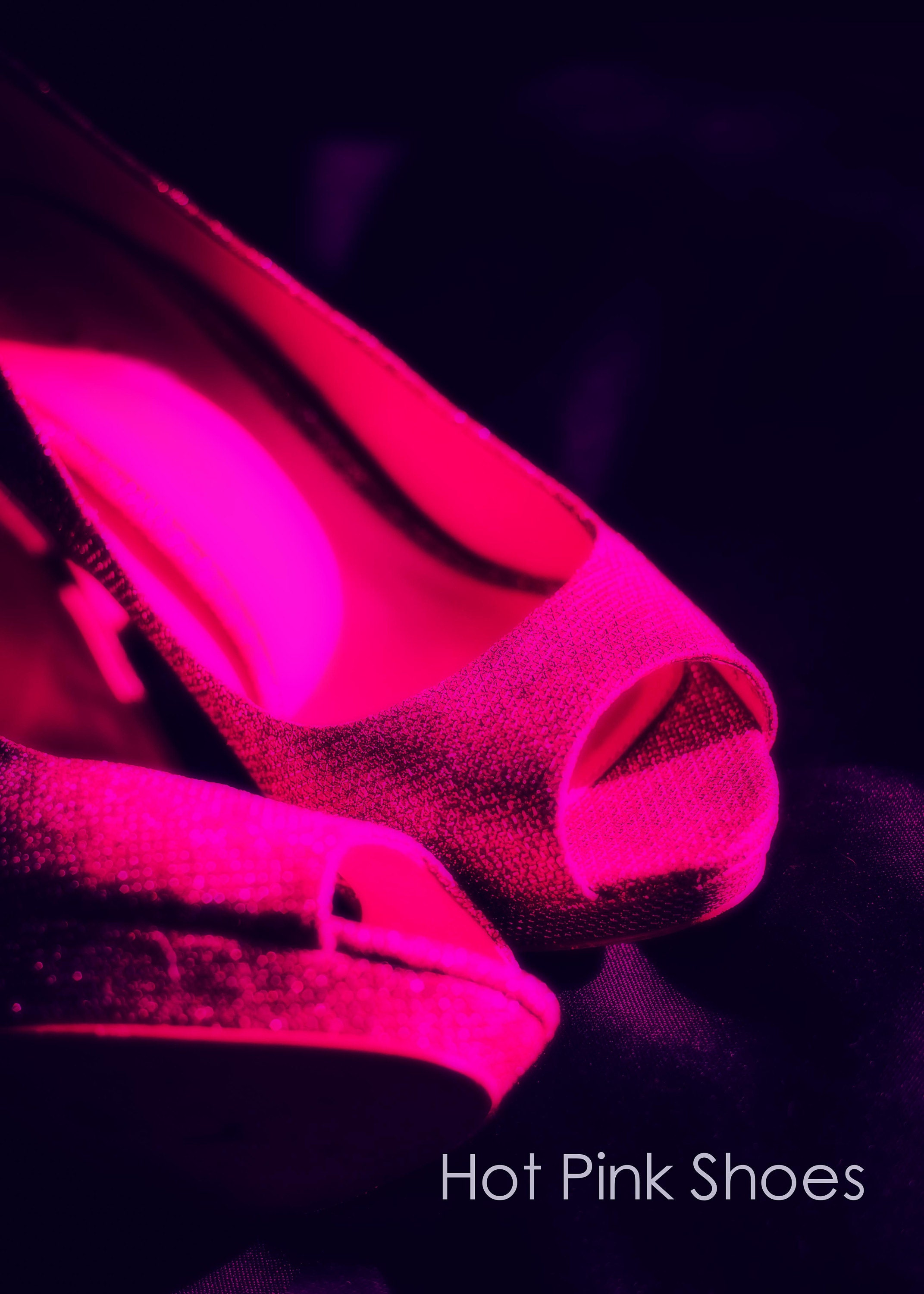 pink high heeled shoe wall art and fine art prints- peep toe stiletto shoe in pink with a black background available in custom sizes and a range of finishes including unframed print, canvas, art panel and box frame