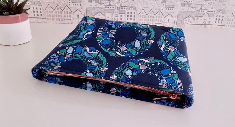 Maeve recessed zipper pouch LBG Studio Sea Wreath Emily Taylor Figo Fabrics