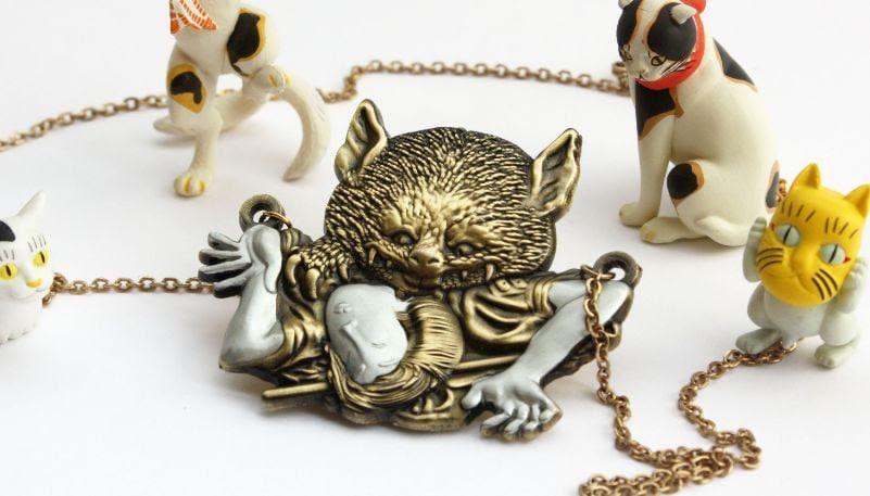 vampire cat of nabeshima yokai bakeneko pendant charm jewelry