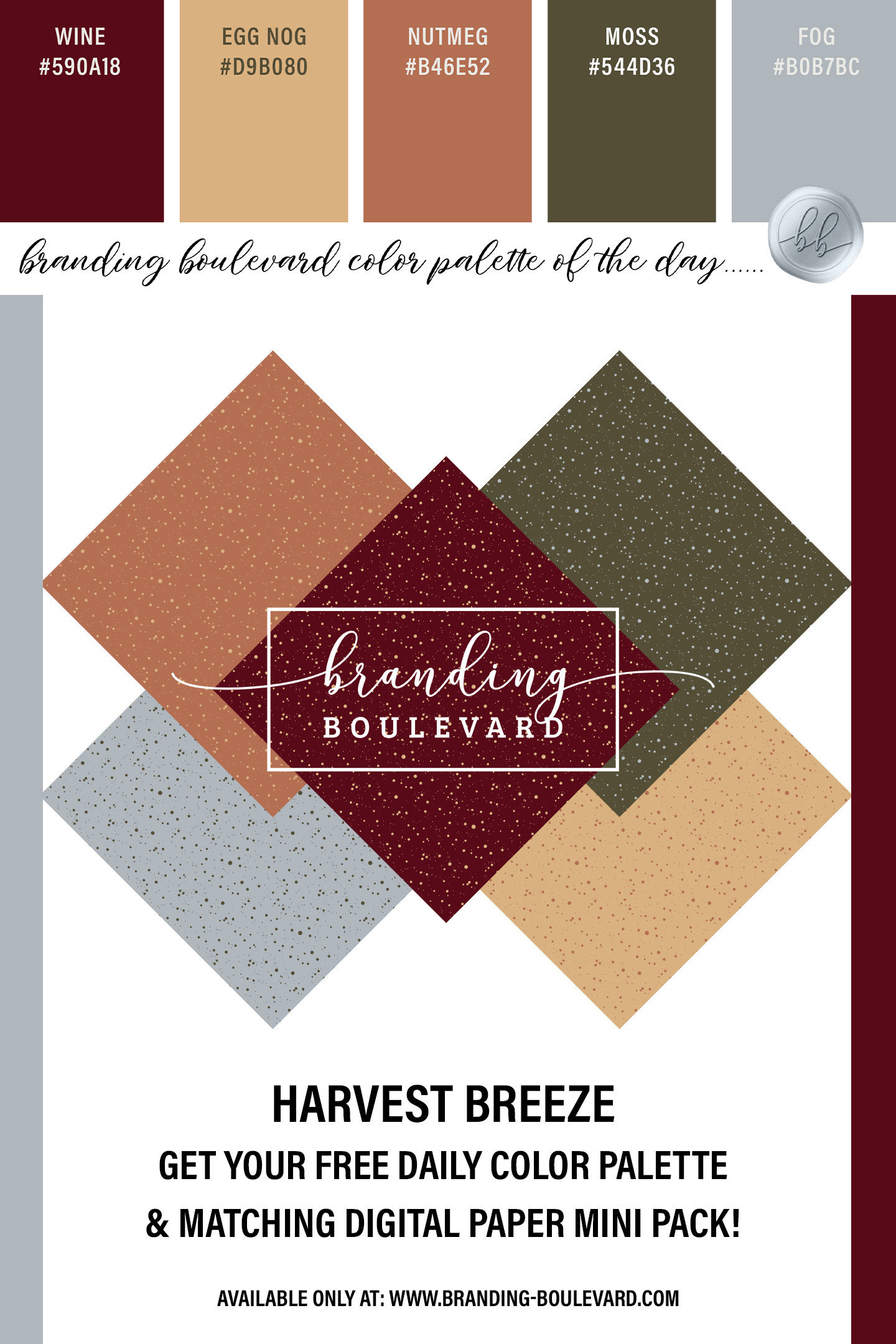 free digital paper set for Harvest Breeze! A set of 5 simple polka dot background papers in this color palette. Wine Red, Eggnog Yellow, Nutmeg, Moss, and Fog
