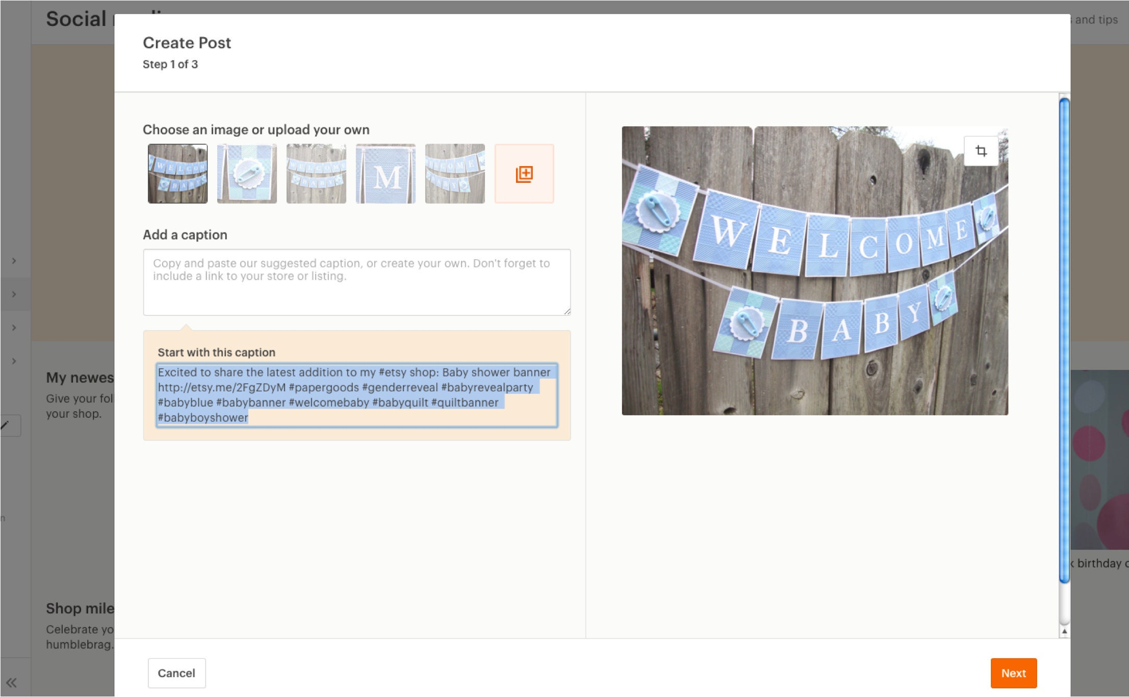 Social Media Create Post menu on Etsy
