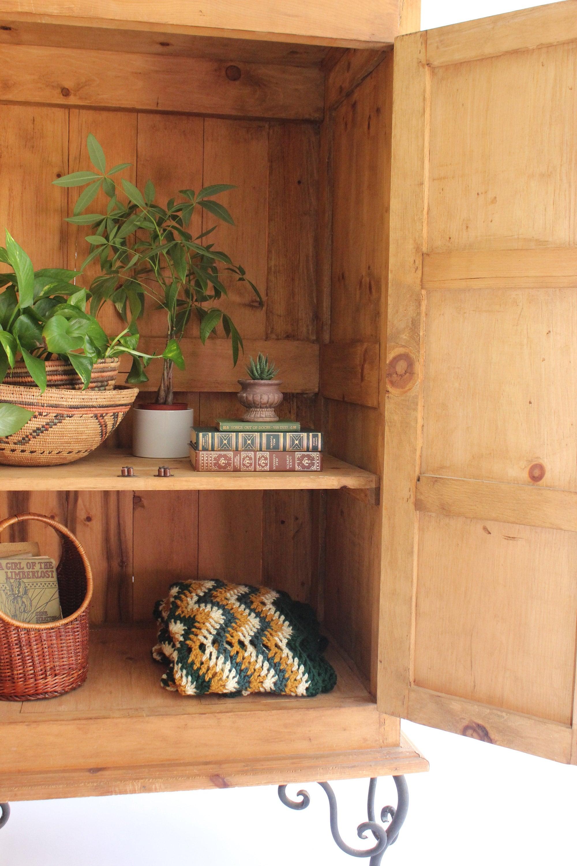 vintage solid wood storage cabinet via mendez manor