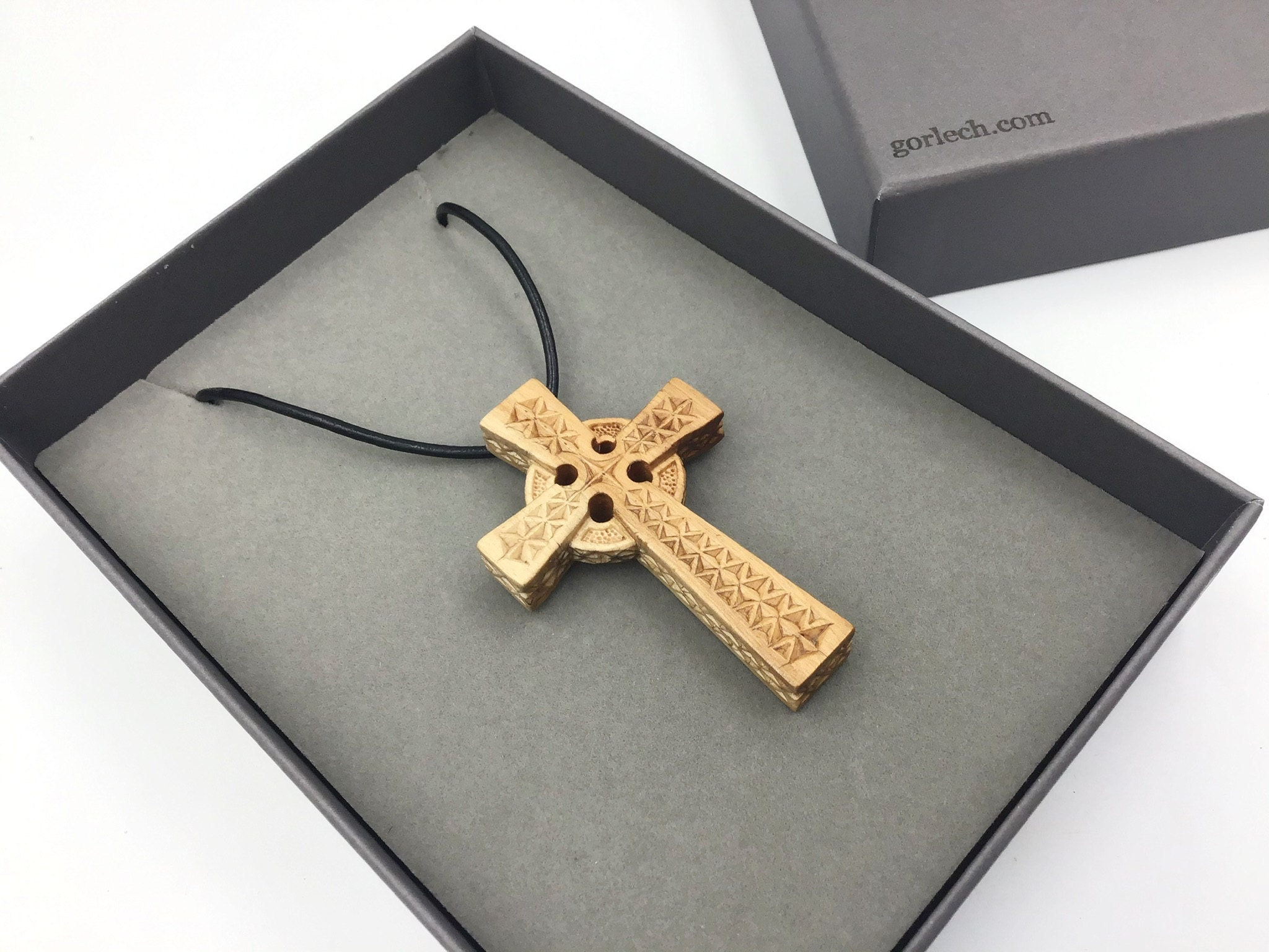 Celtic Cross pendant - Hand carved by Gorlech in Wales UK