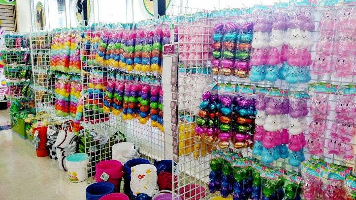 Easter baskets and eggs and toys on shelves at Dollar Tree
