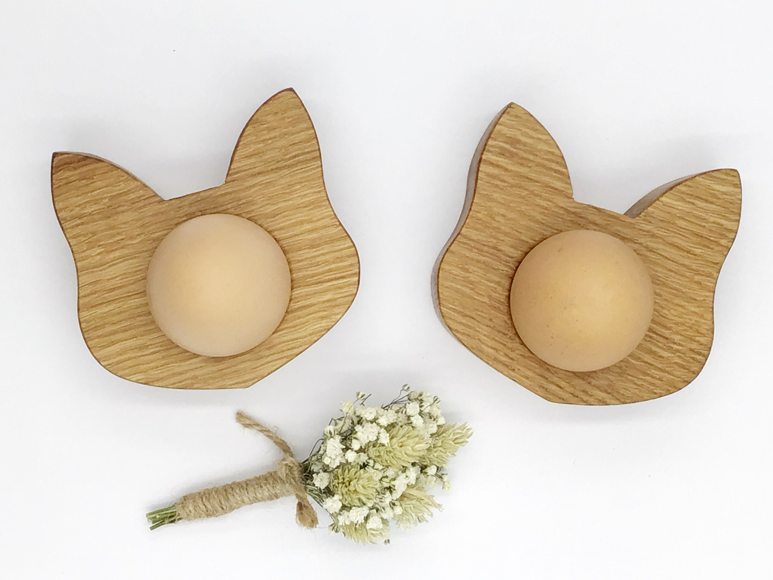 Natural Oak Wood Cat Face Easter Egg Cups