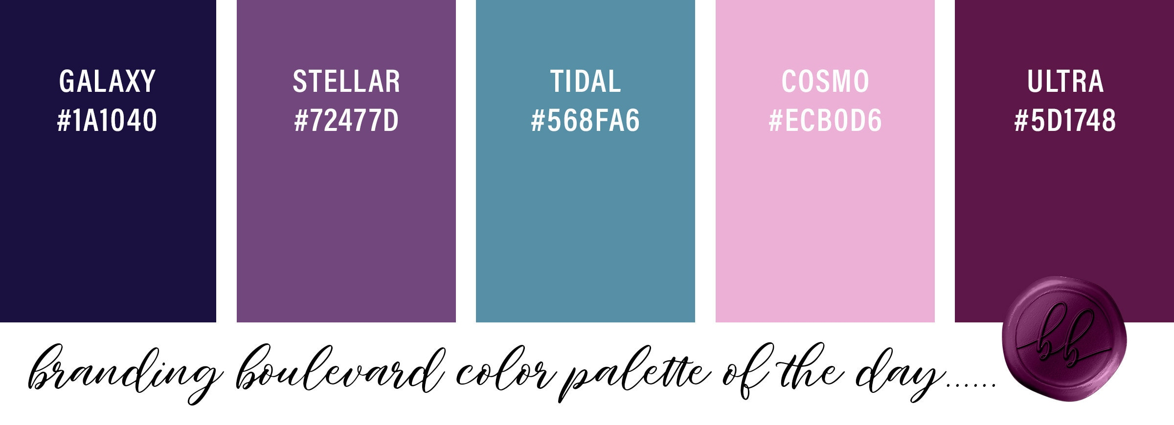 Galaxy Inspired Color Palette - Galaxy Blue, Stellar Purple, Tidal Blue, Cosmo Pink, and Ultra Violet