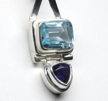 Blue Topaz and Iolite Pendant