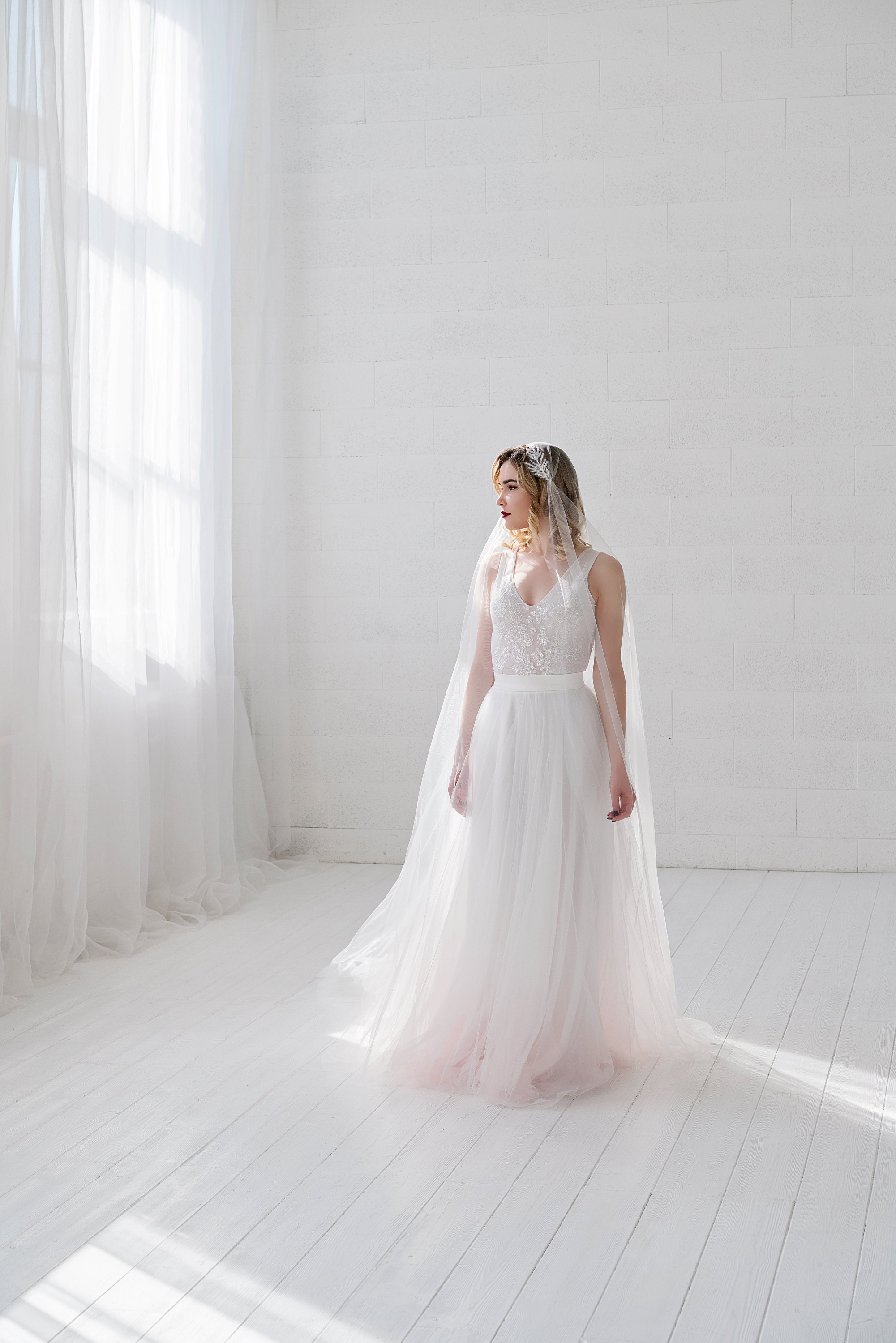 Helene skirt and veil made in italian tulle (ivory and a deep blush dip dye on the skirt)
