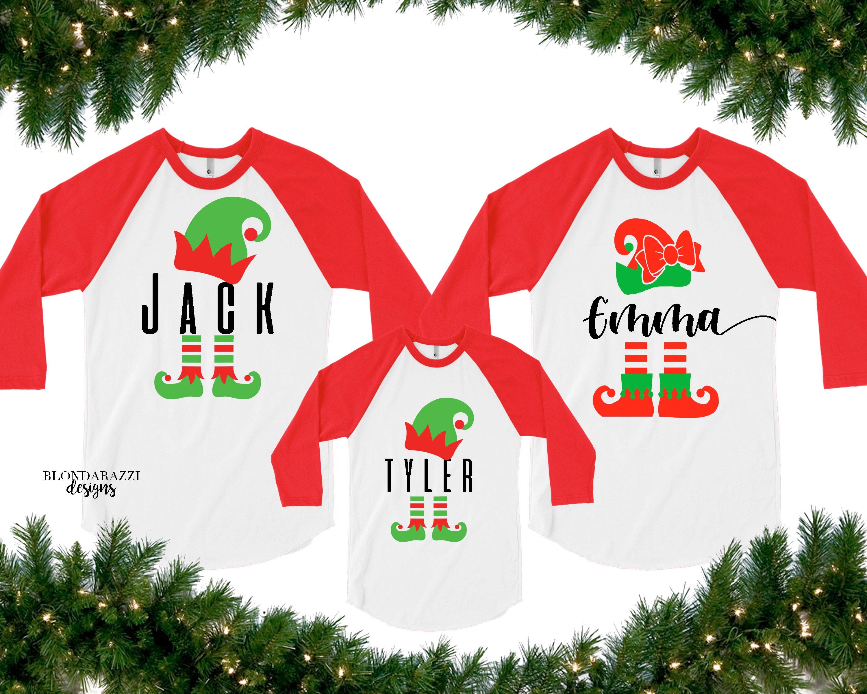 personalized name raglan elf christmas matching family shirts
