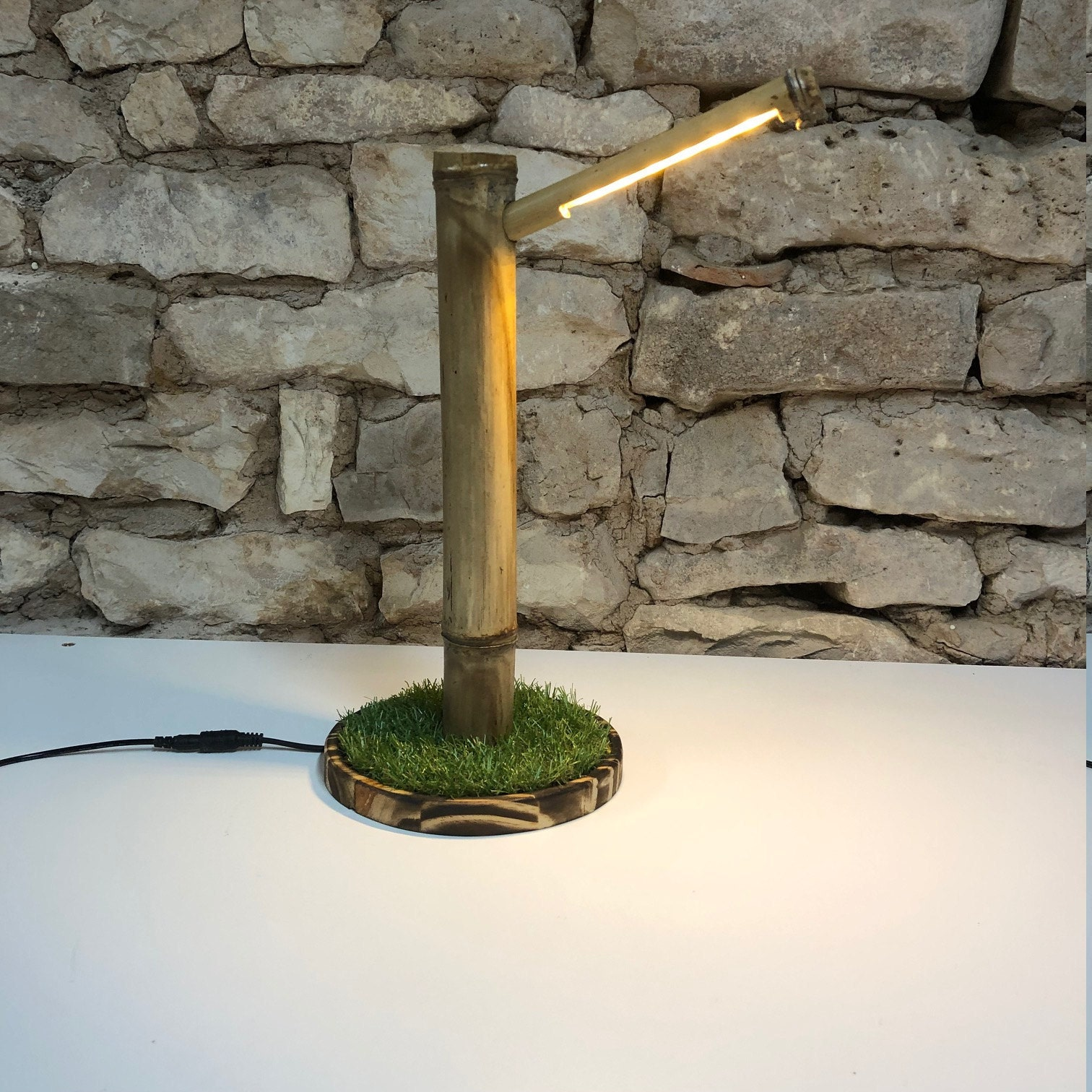 My bamboo and astro turf lamp