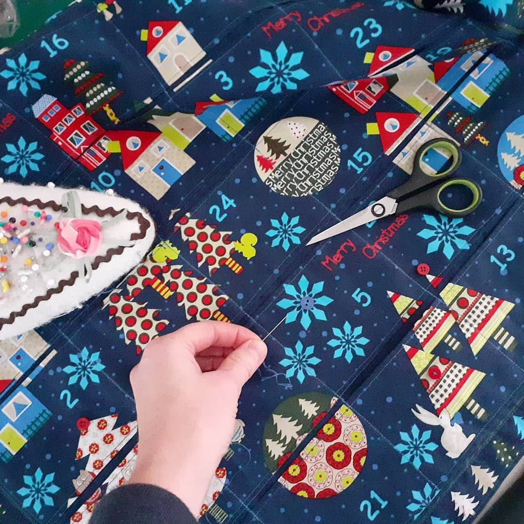 Midnight Blue Christmas Advent Stof fabric panel