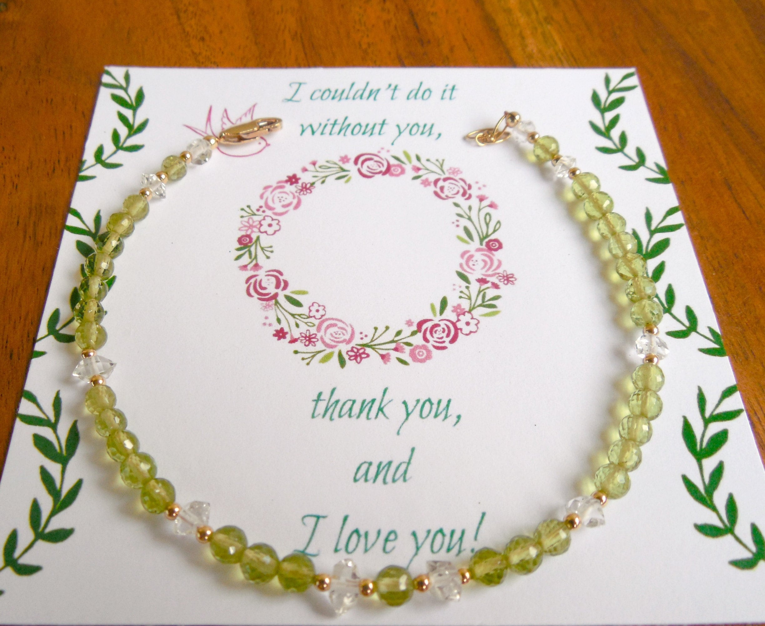 Peridot bracelet, perfect bridesmaid thank you gifts.