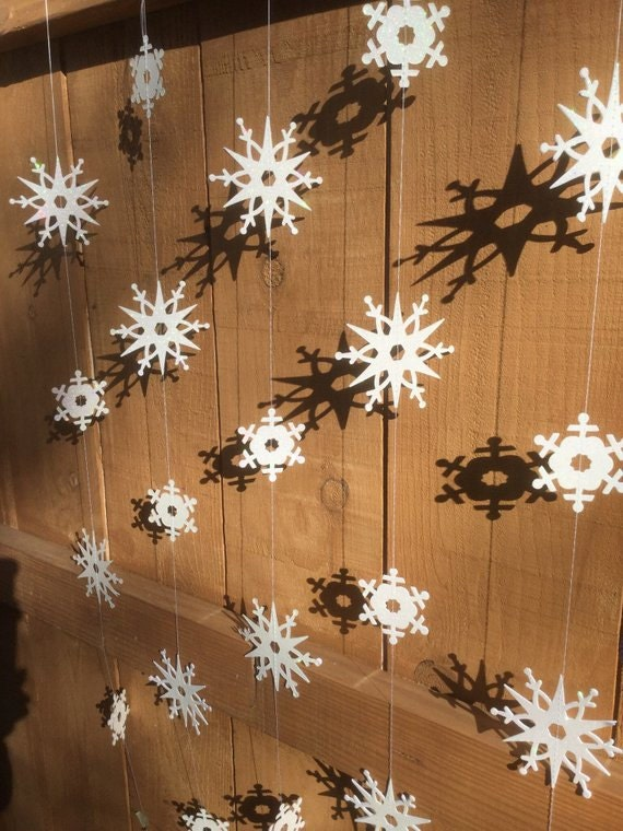 white glitter hanging snowflakes made with Sizzix dies and Bigshot