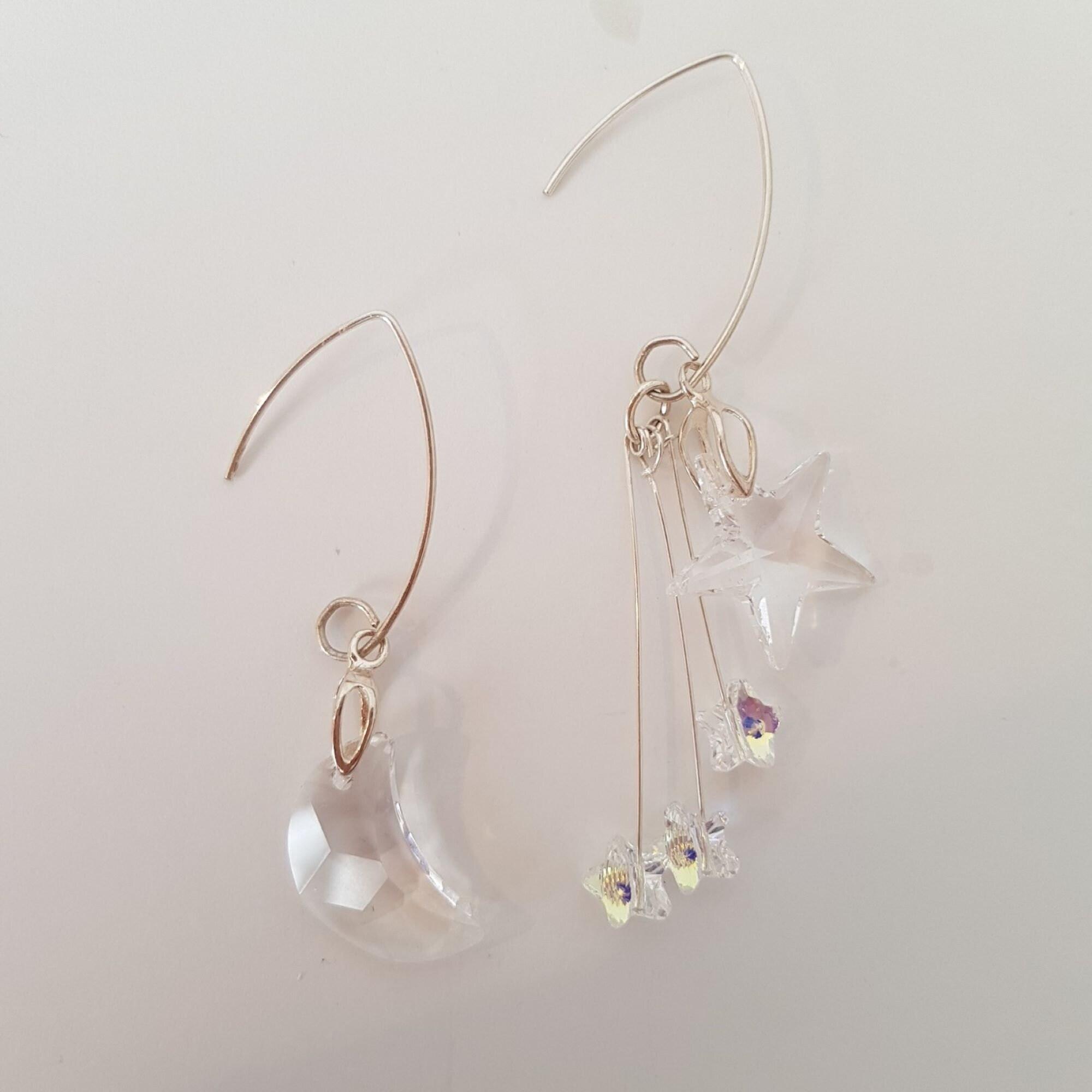 earrings, moon earrings, star earrings, sparkly, christmas