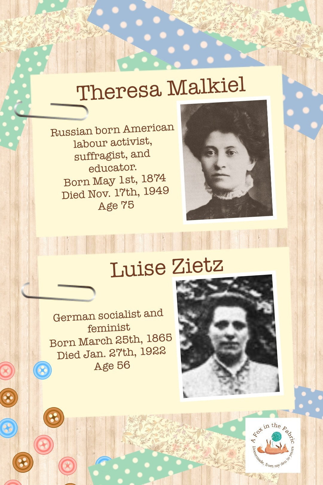 Theresa Malkiel and Luise Zietz, founders or International Womens Day