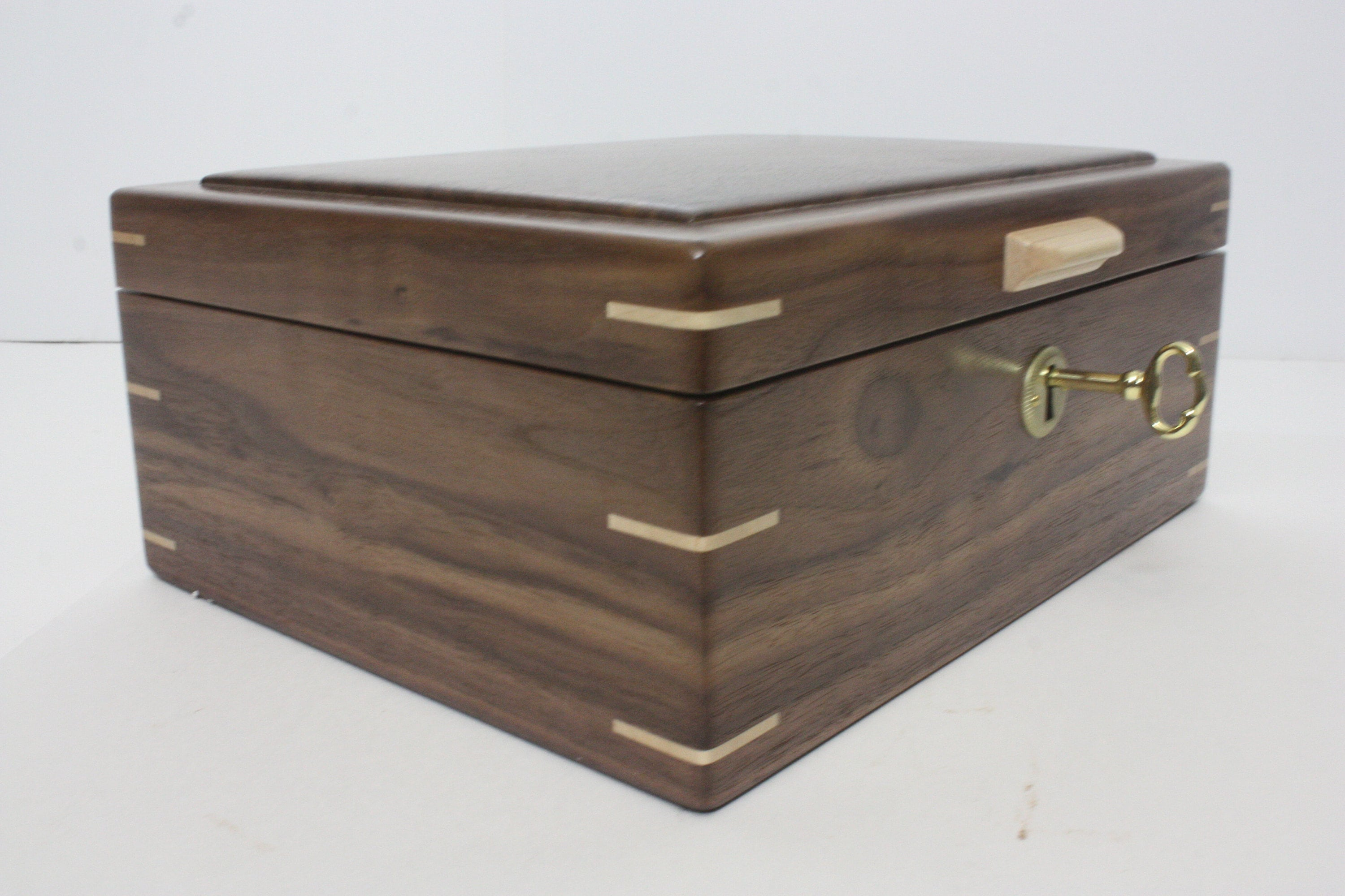 Walnut Locking Keepsake Box