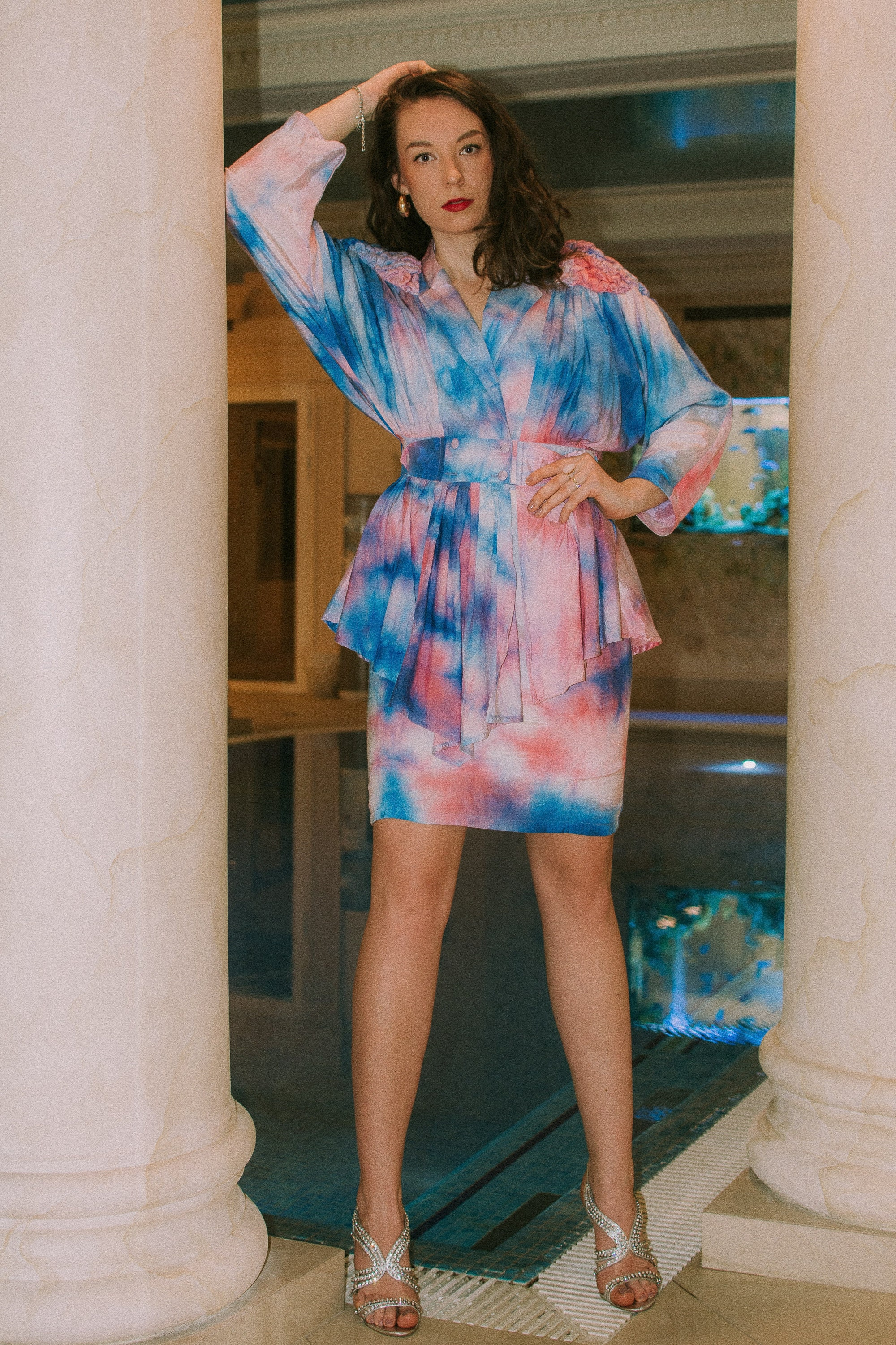80s vintage tie dyed jacket and skirt