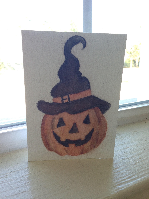 jack-o-lantern pumpkin illustration greeting card, Natalie Bradley art
