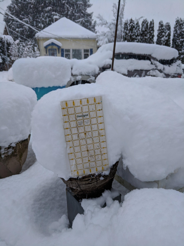 Snow build-up on Mon 2/11