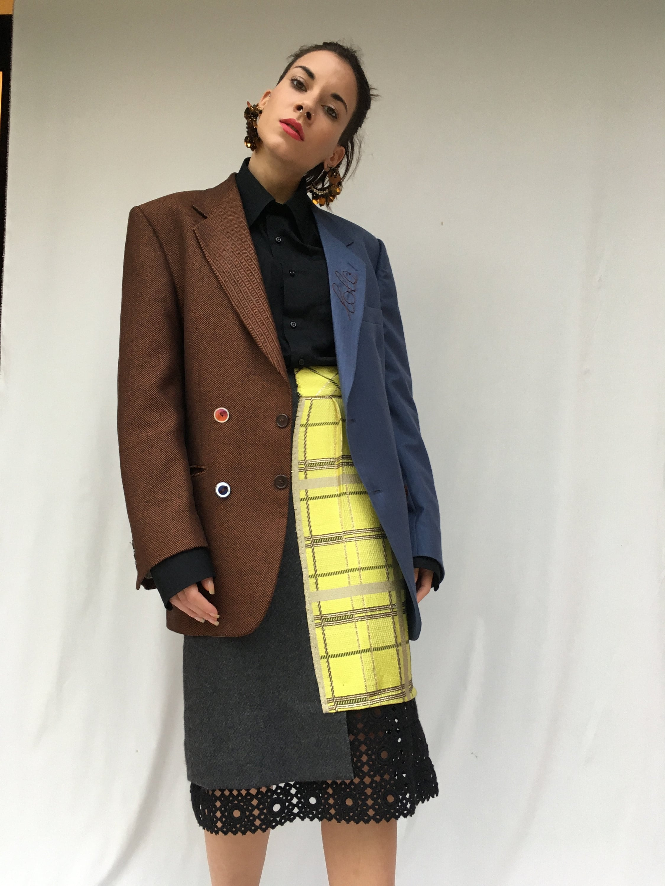 deconstructed skirt and jacket from selected vintage items. sustainability in the creative recovery of high quality waste clothing Lola darling clothing
