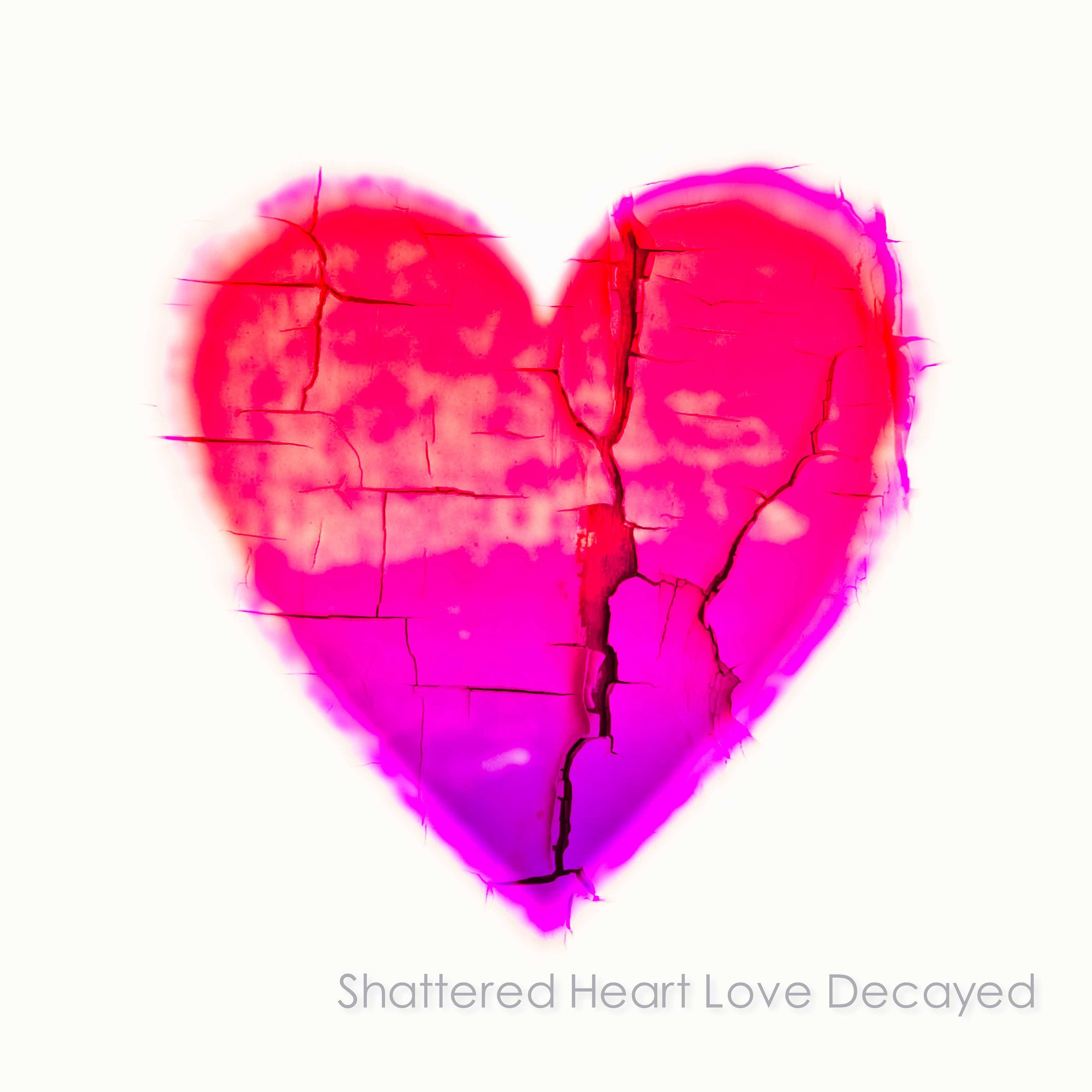 pink and red heart on white background- unframed limited edition prints and ready to hang wall art- the heart has textures of crumbling peeling paint