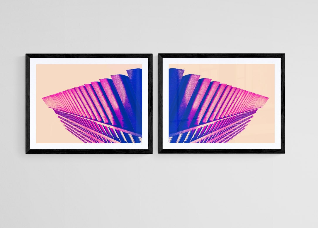 pink abstract wall art of london barbican- photography turned into abstract art- unframed limited editions or ready to hang architecture canvas wall art, art panel aluminium mount and box frame