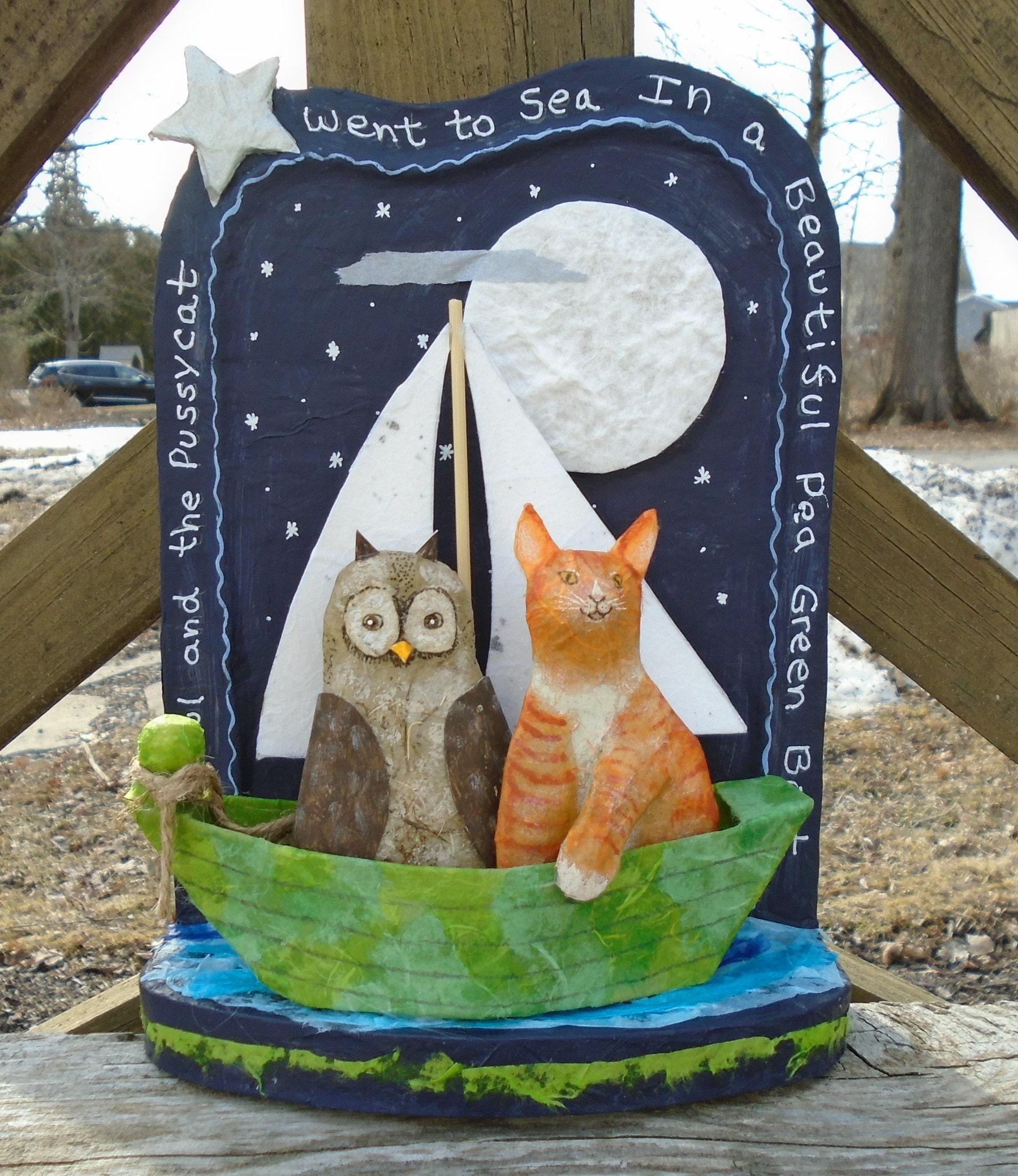 owl and pussycat folk art