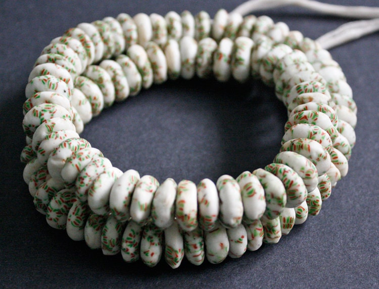 opaque powder glass beads made from broken seed beads