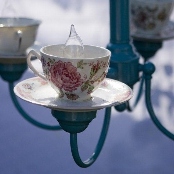 Rose Design Teacup & Saucer With Blue Coloured Chandelier
